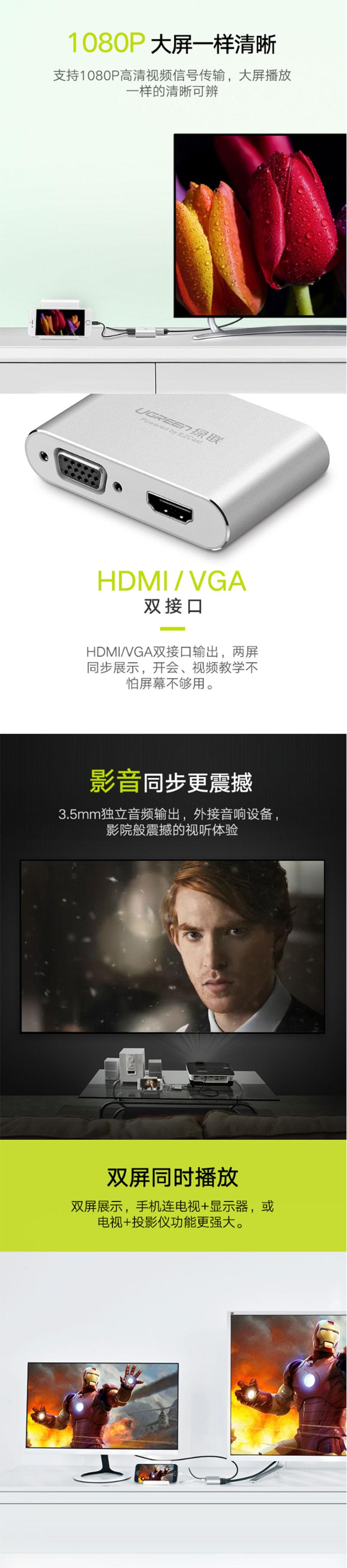 绿联30522 手机转VGA+HDMI转换器