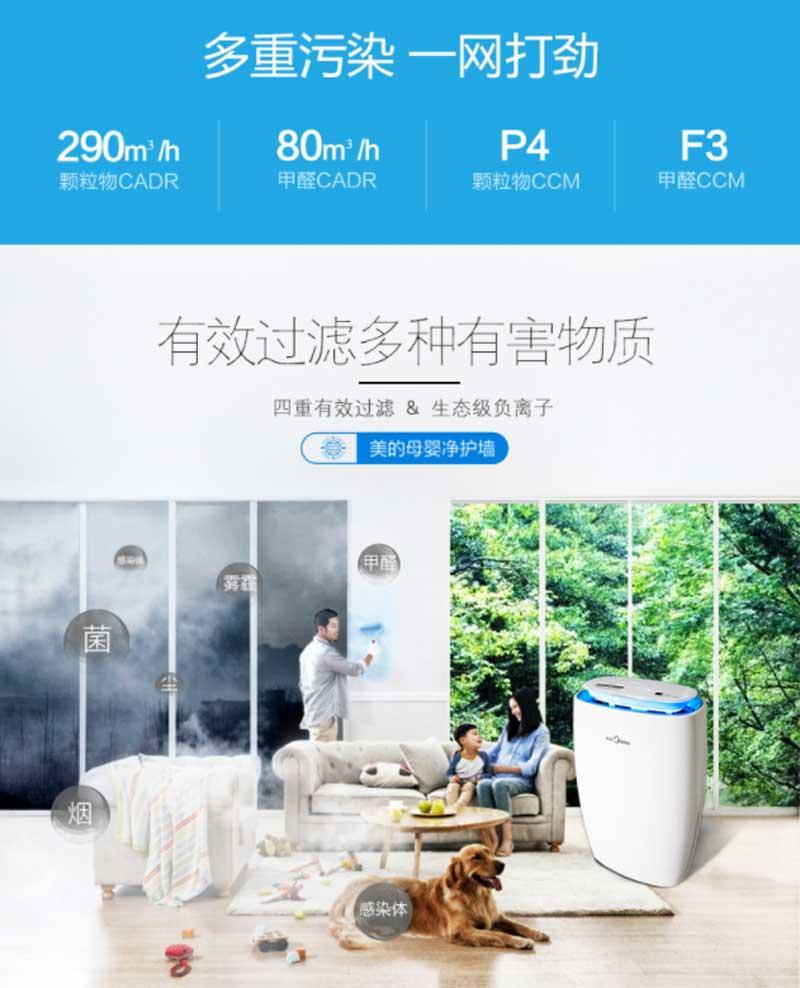 美的(Midea) 空气净化器家用KJ290G-F31卧室除甲醛除雾霾二手烟 APP远程控制详2