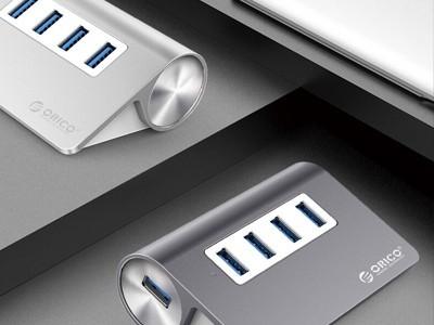 奥睿科(ORICO)USB分线器3.0高速扩展HUB集线器 深空灰M3H4