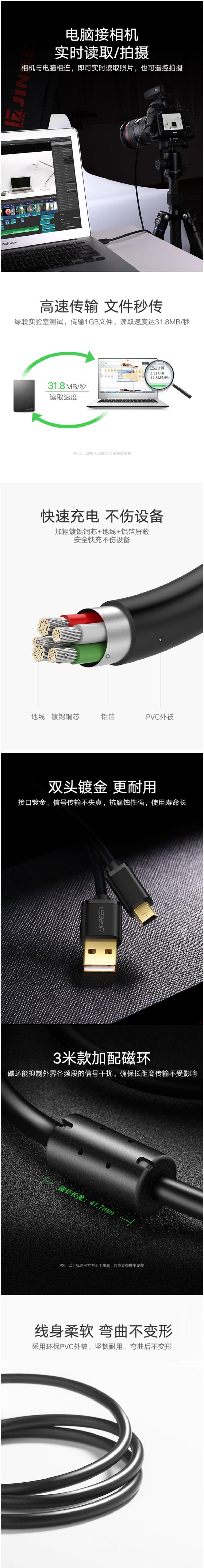 绿联10385集线器USB 转Mini 5P线1.5米