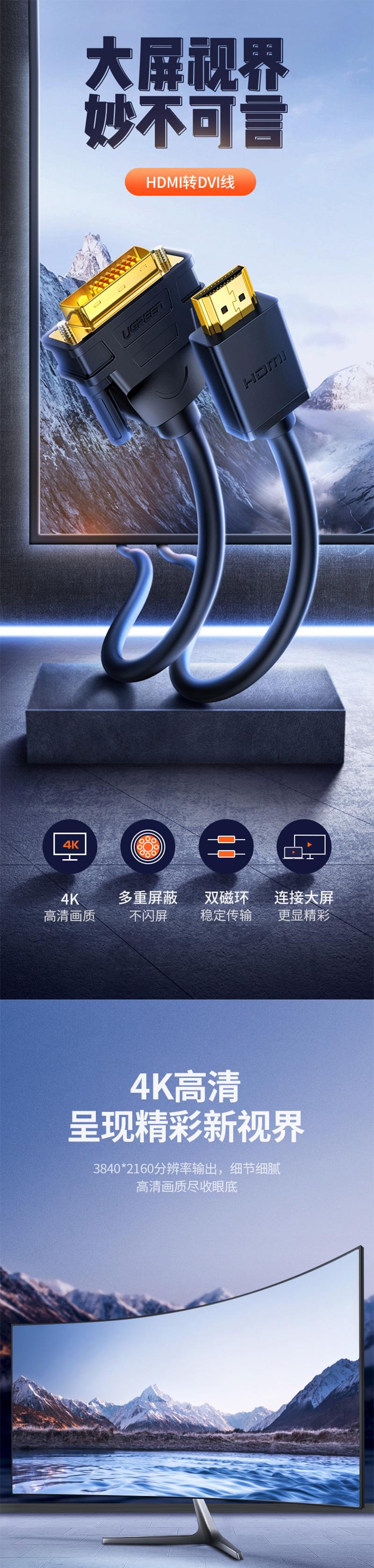 绿联10135 2米HDMI转DVI线 转换线 详情页