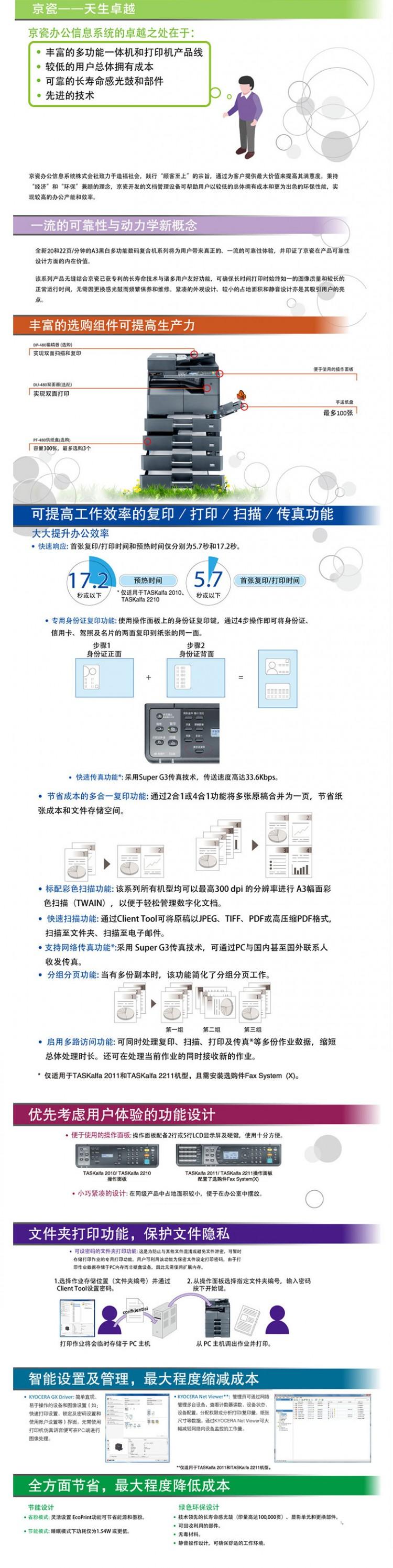 京瓷 TASKalfa 2211黑白数码复合机 A3 京瓷复印机 激光多功能一体机 主机1