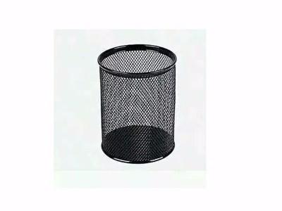赞扬85112金属网格圆形笔筒、铁质网状黑色办公笔筒