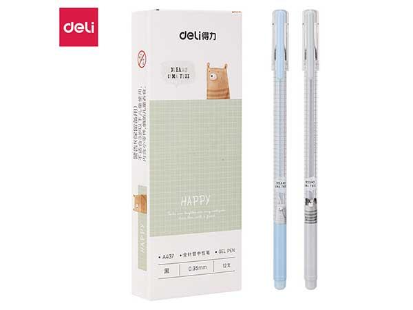 得力(deli) DL-A437 方寸格细杆0.35mm全针管中性笔水笔签字笔 12支盒