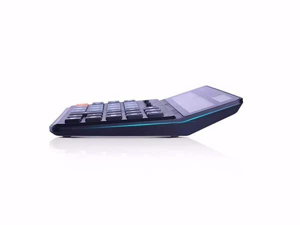 得力(deli)  黑色1675 双电源桌面计算器 12位数宽屏财务计算器