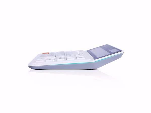 得力(deli)  白色1675 双电源桌面计算器 12位数宽屏财务计算器
