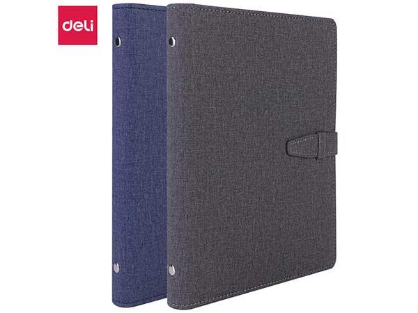 得力(deli) 3309 25K100张时尚活页扣带皮面本  单本蓝灰随机