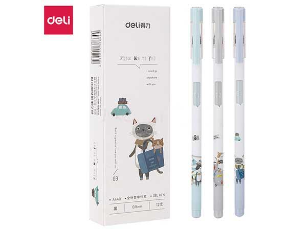 得力(deli)猫系列0.5mm全针管中性笔水笔学生签字笔 12支盒DL-A440黑