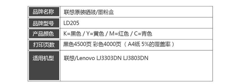 1联想LD205Y 黄色原装硒鼓 (适用于CS2010DW/CF2090DWA打印机)