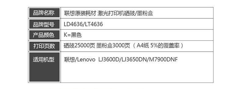 1联想 Lenovo LD4636 黑色硒鼓 (适用于LJ3600DN LJ3650DN LJ7900DNF打印机)