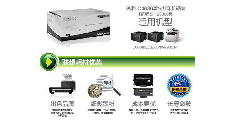 3联想 Lenovo LD4636 黑色硒鼓 (适用于LJ3600DN LJ3650DN LJ7900DNF打印机)
