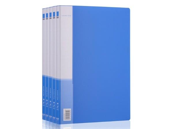 得力(deli)5301 实用文件夹 A4单强力夹+插袋 蓝色
