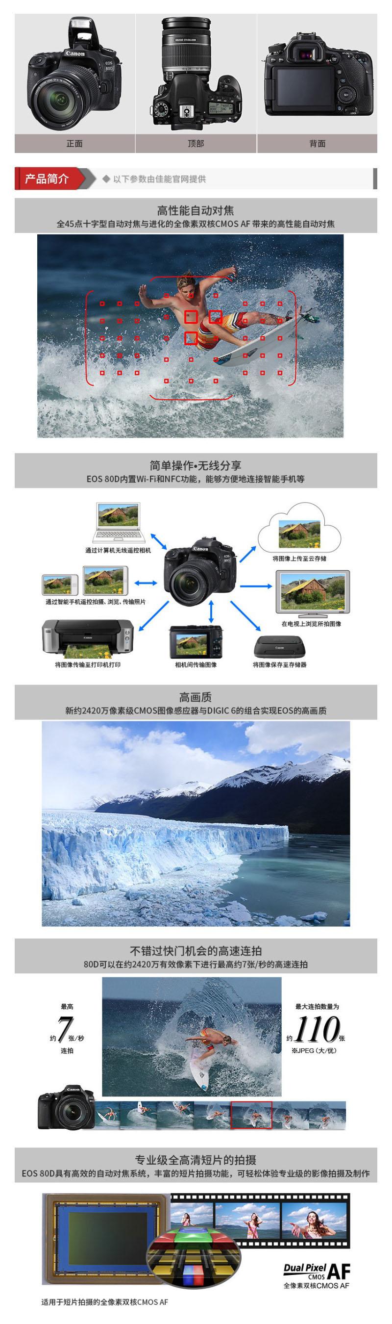 佳能 EOS 80D 单反套机(EF-S 18-200mm f3.5-5.6 IS 2420万有效像素 45点十字对焦 WIFI/NFC)1