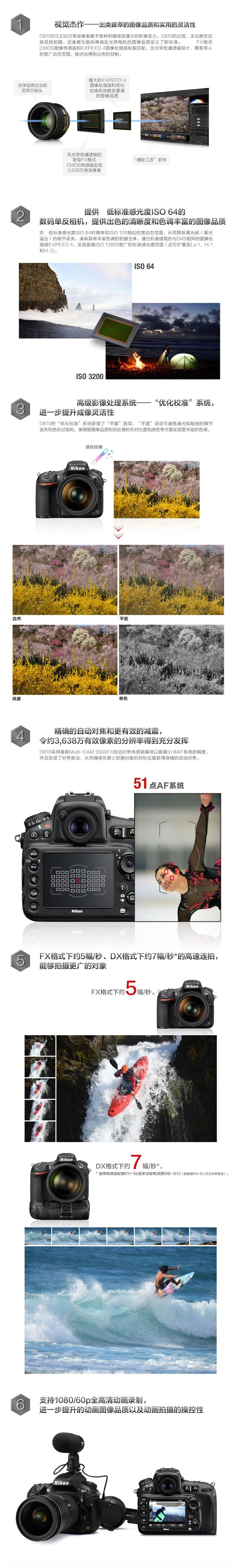 尼康 D810相机 单反数码照相机 全画幅机身 1