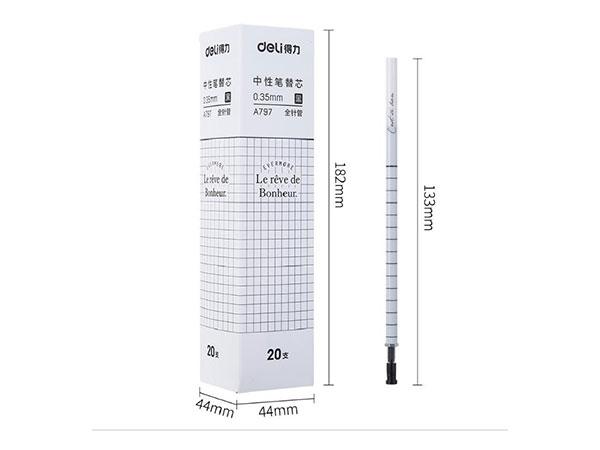 得力(deli) DL-A797 方寸格0.35mm全针管笔芯中性笔替芯书签款 20支盒