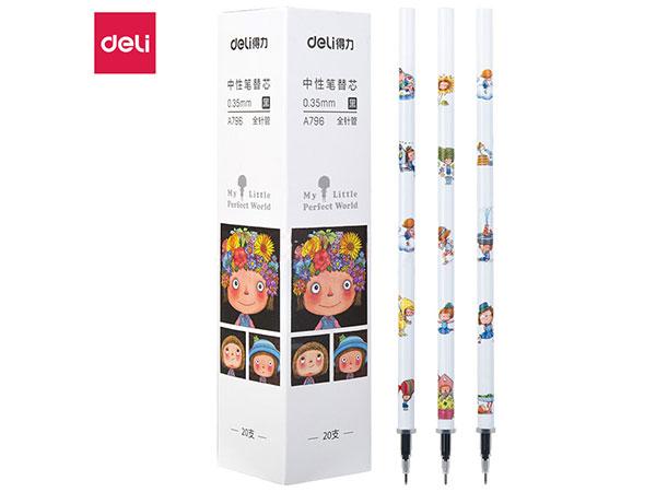 得力(deli) DL-A796 几米0.35mm中性笔笔芯全针管签字笔替芯 20支盒