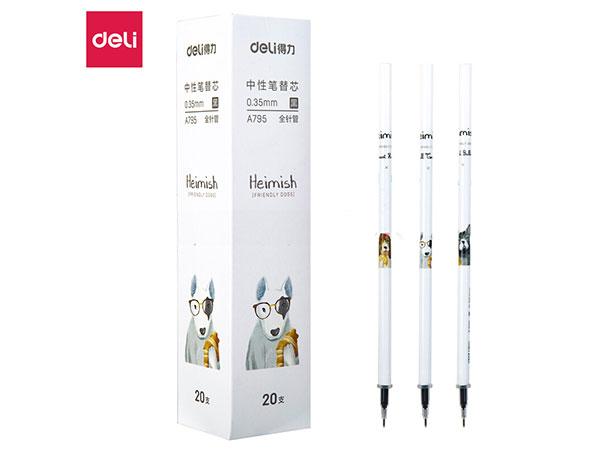 得力(deli) DL-A795 汪星人0.35mm中性笔笔芯全针管签字笔替芯 20支盒