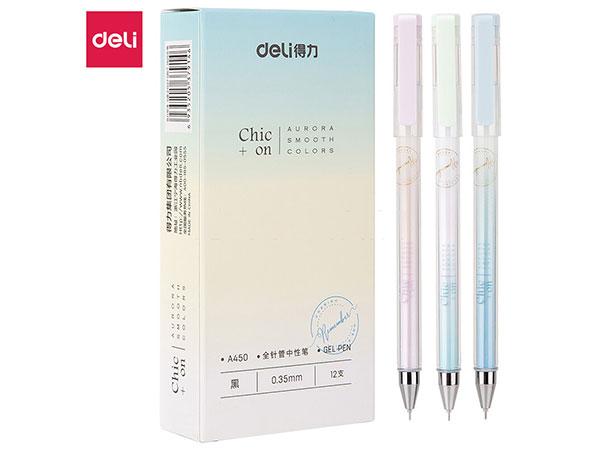 得力(deli) DL-A450黑淡雅系列0.35mm全针管中性笔水笔 12支盒